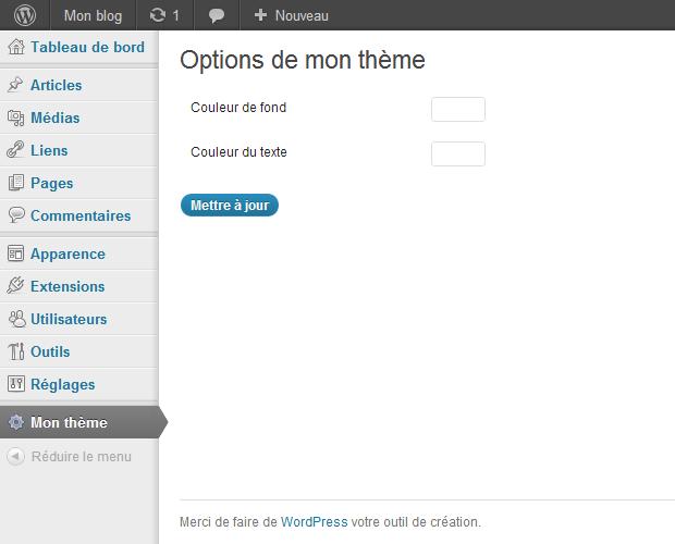 Page d'options pour notre thème WordPress